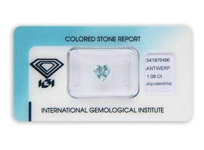 akvamarín 1.08ct light blue s IGI certifikátem