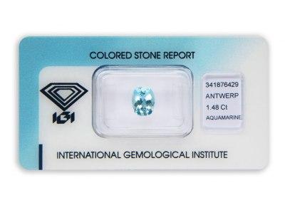 akvamarín 1.48ct greenish blue s IGI certifikátem