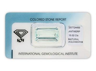 akvamarín 15.02ct greenish blue s IGI certifikátem