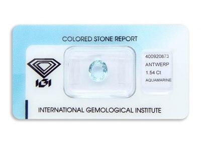 akvamarín 1.54ct greenish blue s IGI certifikátem