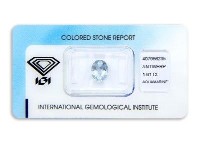 akvamarín 1.61ct light blue s IGI certifikátem