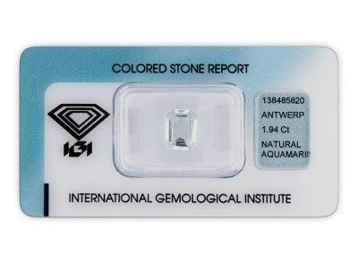 akvamarín 1.94ct very light blue s IGI certifikátem