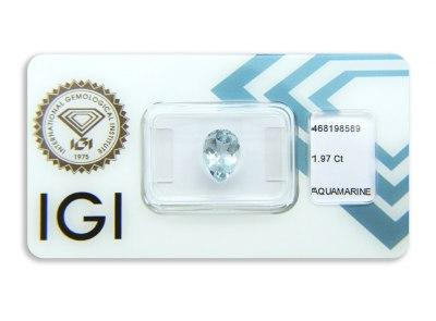 akvamarín 1.97ct greenish blue s IGI certifikátem