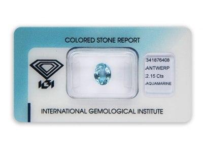 akvamarín 2.15ct blue s IGI certifikátem