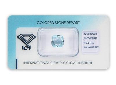 akvamarín 2.24ct light blue s IGI certifikátem