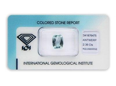 akvamarín 2.36ct light blue s IGI certifikátem
