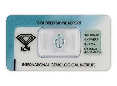 akvamarín 2.41ct light blue s IGI certifikátem