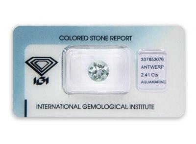 akvamarín 2.41ct very light blue s IGI certifikátem
