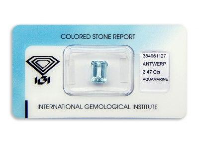 akvamarín 2.47ct greenish blue s IGI certifikátem
