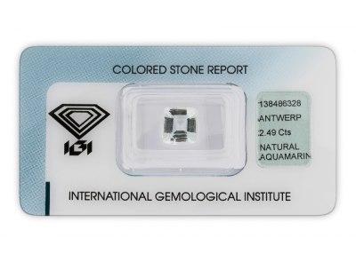 akvamarín 2.49ct very light greenish blue s IGI certifikátem