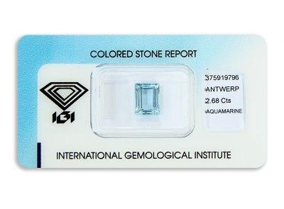 akvamarín 2.68ct greenish blue s IGI certifikátem