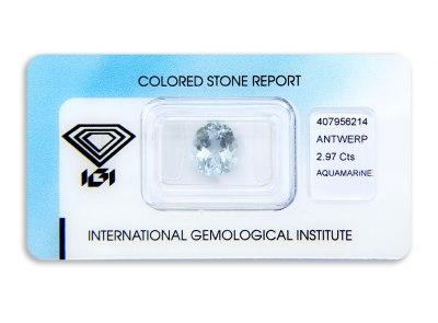 akvamarín 2.97ct light blue s IGI certifikátem