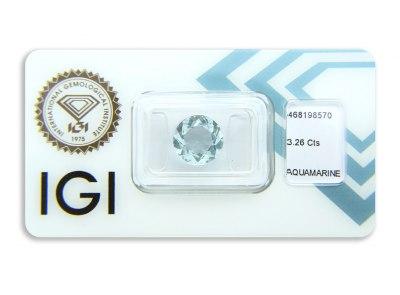 akvamarín 3.26ct greenish blue s IGI certifikátem