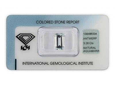 akvamarín 3.28ct very light blue s IGI certifikátem