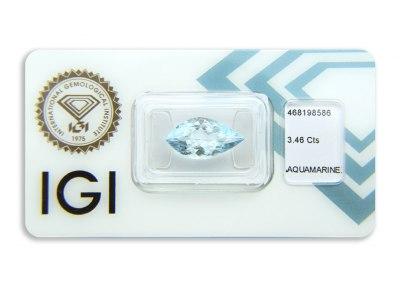 akvamarín 3.46ct greenish blue s IGI certifikátem