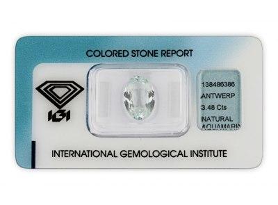 akvamarín 3.48ct light greenish blue s IGI certifikátem