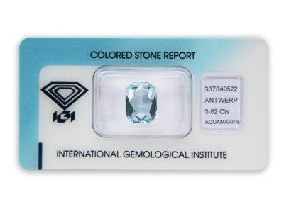 akvamarín 3.62ct blue s IGI certifikátem