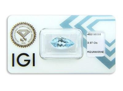 akvamarín 3.97ct greenish blue s IGI certifikátem