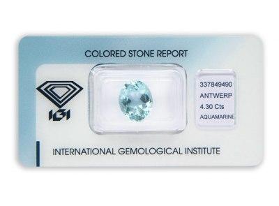 akvamarín 4.30ct blue s IGI certifikátem