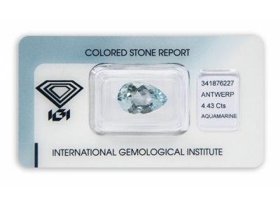 akvamarín 4.43ct light blue s IGI certifikátem
