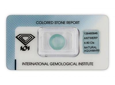 akvamarín 4.80ct light blue s IGI certifikátem