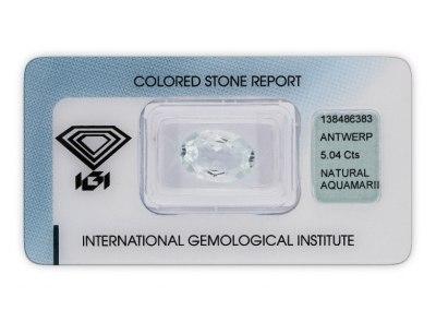 akvamarín 5.04ct light greenish blue s IGI certifikátem
