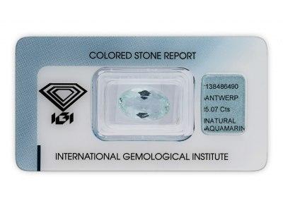akvamarín 5.07ct light blue s IGI certifikátem
