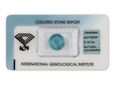 akvamarín 5.10ct blue s IGI certifikátem