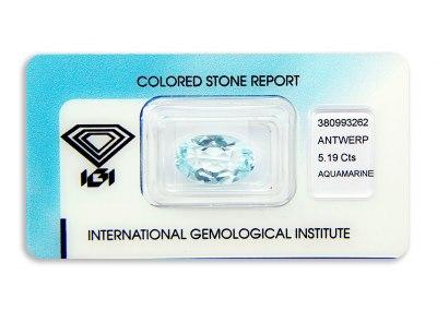 akvamarín 5.19ct blue s IGI certifikátem