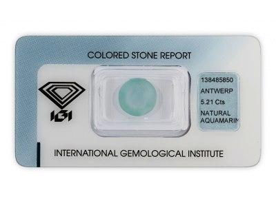 akvamarín 5.21ct light blue s IGI certifikátem