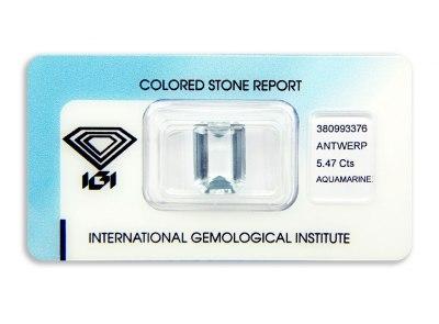 akvamarín 5.47ct light bluish green s IGI certifikátem