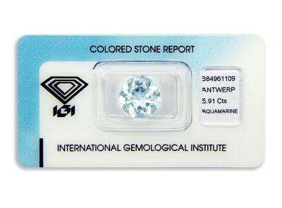 akvamarín 5.91ct light blue s IGI certifikátem