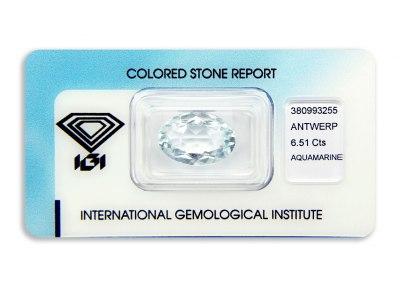 akvamarín 6.51ct light blue s IGI certifikátem