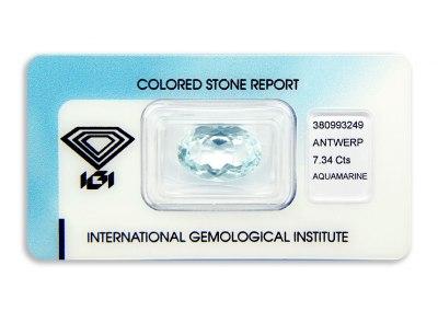 akvamarín 7.34ct light blue s IGI certifikátem