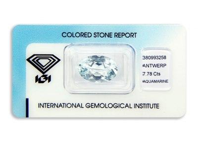 akvamarín 7.78ct light blue s IGI certifikátem