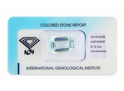 akvamarín 9.12ct blue s IGI certifikátem