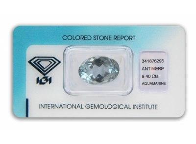 akvamarín 9.40ct greenish blue s IGI certifikátem