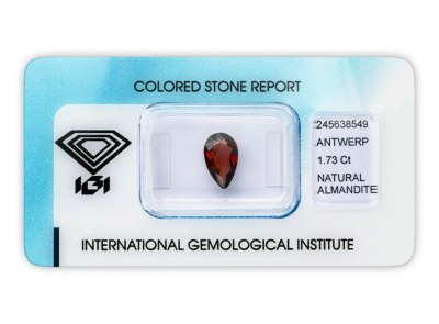 almandin 1.73ct reddish orange s IGI certifikátem