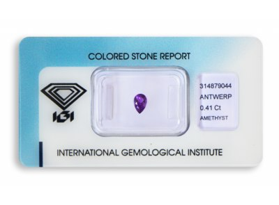 ametyst 0.41ct pinkish purple s IGI certifikátem