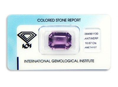 ametyst 10.67ct purple s IGI certifikátem