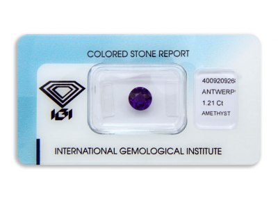 ametyst 1.21ct purple s IGI certifikátem