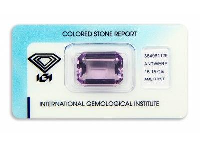 ametyst 16.15ct purple s IGI certifikátem