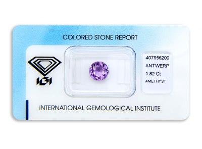 ametyst 1.82ct purple s IGI certifikátem