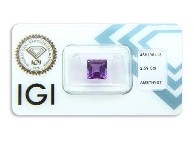 ametyst 2.59ct pinkish purple s IGI certifikátem