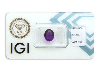 ametyst 2.75ct deep purple s IGI certifikátem