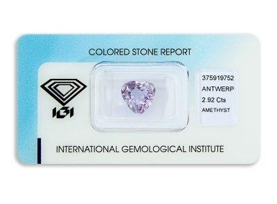 ametyst 2.92ct purple s IGI certifikátem