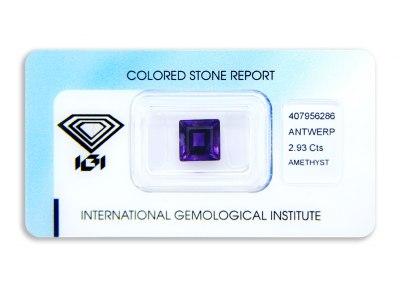 ametyst 2.93ct deep purple s IGI certifikátem