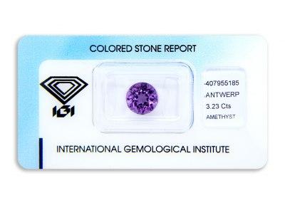 ametyst 3.23ct purple s IGI certifikátem