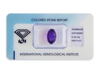 ametyst 3.33ct deep purple s IGI certifikátem