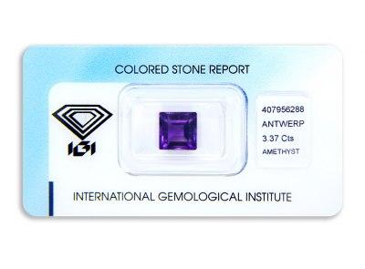 ametyst 3.37ct deep purple s IGI certifikátem
